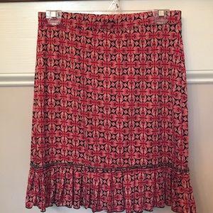 XS Max Studio skirt. Red and black. Ruffle at hem.